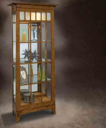 Oak Curio Display Cabinet With Stain Glass Features Lighted Interior Adjule Shelves