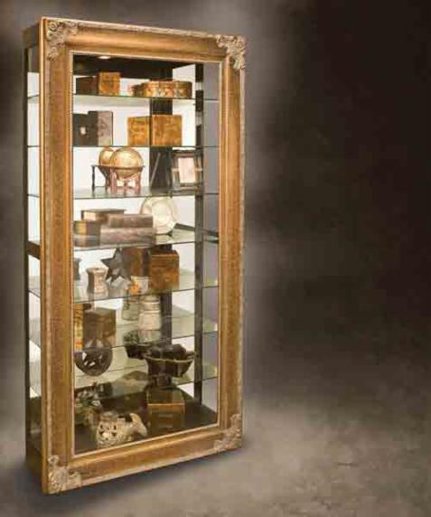 Antique Gold Picture Frame Display Cabinet with Sliding Glass Door to  provide easy access to all 8 shelves. Smoothly slides either left or right  and locks ... - Display Cabinets - Welcome To Carter Furniture, Suffolk, Virginia